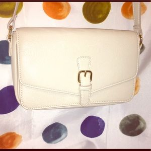 Simulated leather bag, in off white, by Forever 21